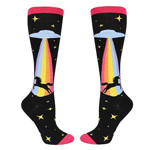 Women's Girls Novelty Rainbow Unicorn Over Calf Knee High Socks Funny Crazy Alien UFO Boot Socks in Black