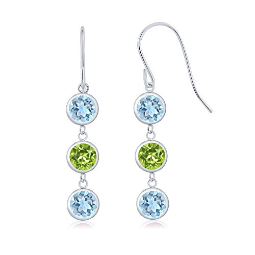 Gem Stone King 3.00 Ct Round Sky Blue Aquamarine and Green Peridot 925 Sterling Silver 3 Stone Dangle Earrings