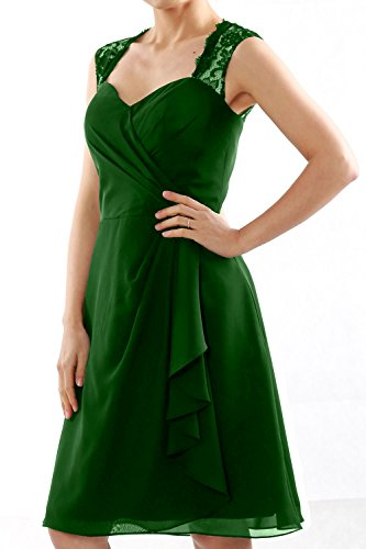 MACloth Women Short Bridesmaid Dress Lace Straps Wedding Party Cocktail Gown Verde Oscuro