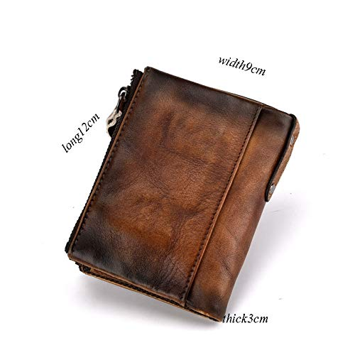 Color : Brown, Size : L Kalmar Wallet for Man Cowhide Short Retro Multi-Layer Mens Size 12 9 3cm Stealth Mode Blocking Leather Wallet