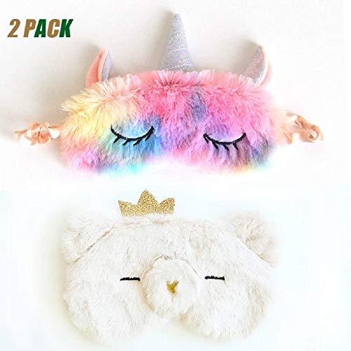 Princess Eye Mask - 2 PACK Kids Sleep Mask - Soft and Comfortable Animal Plush Blindfold Eye Cover Eyeshade for Kids Girls Women, for Travel, Washable (unicorn&princess)
