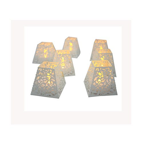 TBW White Battery-powered Tealights Candles DIY Home Decoration - Amber Lights, (Diy Wedding Reception Decorations)