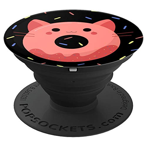 Cute Cat Donut Pink Yellow Blue Sprinkles on Black - PopSockets Grip and Stand for Phones and Tablets