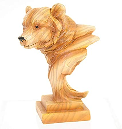 Slifka Sales Co Wolf Bust Wood Look Natural Brown 4 x 2 Resin Stone Collectible Figurine