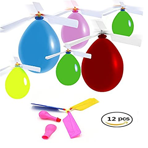 HoFire 12 Pcs Kids Balloon Helicopter Airplane 24 Pcs Balloon Powered Helicopter Flying Toy for Children's Day Gift Party Favor easter basket, stocking stuffer or - Energy Gift Basket