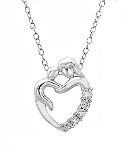 Mother and Child Heart Shaped Diamond Necklace