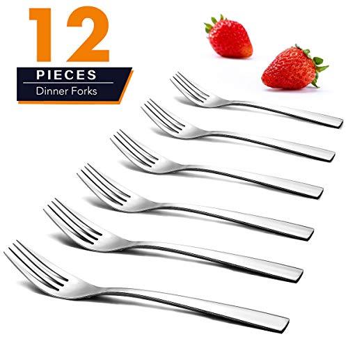 (Dinner Forks, Elegant Life 12-Piece Stainless Steel Forks Set Mirror Polished Modern Flatware Cutlery Forks for Kitchen, 8 inches)