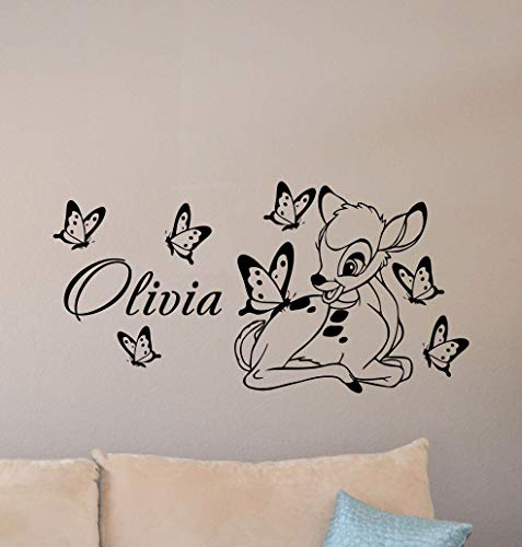 Bambi Wall Decal Personalized Baby Name Poster Custom Sign Disney Quote Nursery Vinyl Sticker Gift Child Room Decor Playroom Wall - Made in USA-Fast delivery