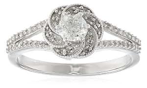 14k White Gold Swirl Bridal Engagement Ring (1/2 cttw, J-K Color, I1-I2 Clarity), Size 7