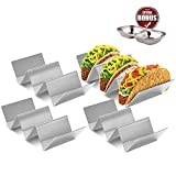 Roklur Premium Taco Holder Stainless Steel - 4 Pack Set - Safe for Oven Baking, Grill, and Dishwasher Tortilla Rack Holders for Party, Truck, and Restaurant - Bonus Serving Tray Dish