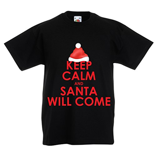 lepni.me T Shirts for Kids Keep Calm and Santa Will Come, Holiday Clothes and Christmas Vacation Outfits (5-6 Years Black Multi Color)]()