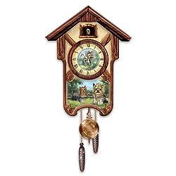 Linda Picken's Youthful Yorkies Wooden Cuckoo Clock - By The Bradford Exchange