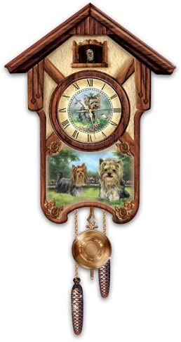 The Bradford Exchange Linda Picken s Youthful Yorkies Wooden Cuckoo Clock