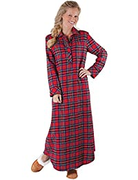 Women's Bright Plaid Flannel Nightgowns