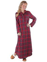 PajamaGram Women's Classic Plaid Flannel Gowns
