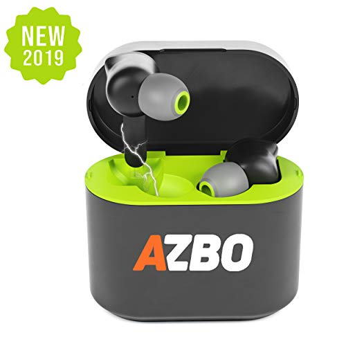 True Wireless Bluetooth Earbuds 5.0 by AZBO - iOS Android Compatible in-Ear Headphones - IPX Waterproof Stereo Sound Earphones with Built-in Microphone and Charging Case - 7 Hours Playtime (Green)