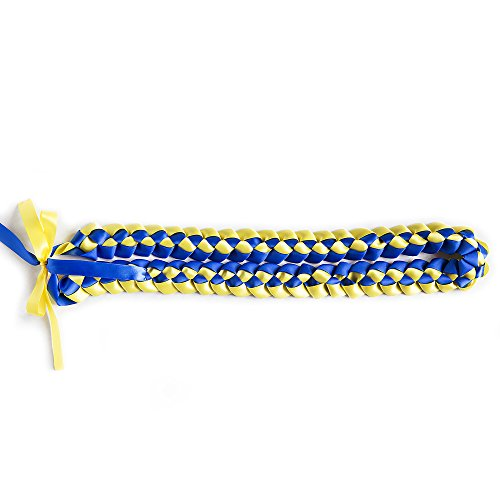 Ribbon Lei - Braided Necklace - Royal Blue & Yellow by A Tangible Thought