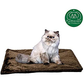 Furhaven Pet Dog Bed Heating Pad | ThermaNAP Quilted Faux Fur Insulated Thermal Self-Warming Pet Bed Pad for Dogs & Cats, Espresso