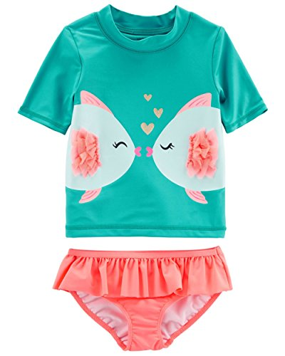 Carter's Baby Girls' Two Piece Swimsuit, Turquoise Fish, 24 (Fish Swimsuit)