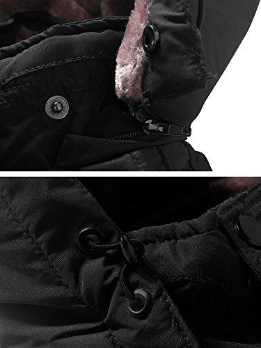 Uomo Foderato Pile Inverno In A Spesso Vento Parka Nero Wenven Giacca p6Zqz7x