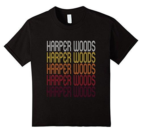 Kids Harper Woods, MI | Vintage Style Michigan T-shirt 6 - Wood Mi Harper