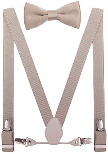 Beige Leather Set - YJDS Women's Leather Suspenders and Bowtie Set Elastic for Wedding Tan 47''