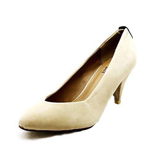 Las señoras del talón bajo Zapatos de tacón en punta con tacón tachonada Nude Suedette