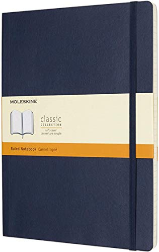 """Moleskine Classic Notebook, Soft Cover, XL (7.5"""" x 9.5"""") Ruled/Lined, Sapphire Blue, 192 Pages"""