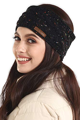 Fleece Headband Ear Warmer - Womens Cable Knit Ear Warmer Headband - Winter Fleece Lined Headwrap by Brook + Bay