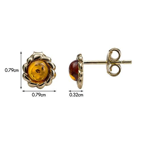 Miel Ambre Boucles d'oreilles clous or jaune 14K petit rond