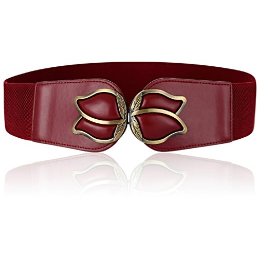 (Wenecho Width 2.36 inch Wide Elastic Stretch Cinch Belt Fashion Metal Interlock Buckle Waist Belts for Women Plus Size (Wine Red, XL))