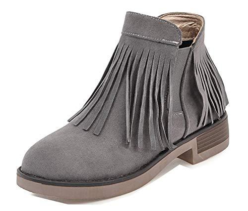 Bout Femme Cheville Avec Boots Gris Chelsea Rond Frange Classique Zip Aisun agqwtq