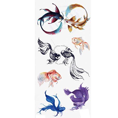 TAFLY Fish Temporary Tattoo Fake Sexy Body Art Goldfish Tattoos Stickers 5 Sheets]()