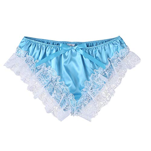 3f9654f6c MSemis Men Sissy Crossdress Panties Lace Satin Frilly Ruffled Bloomer Thong Underwear  Lingerie