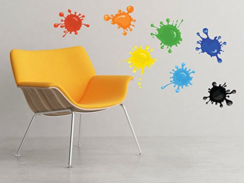 - Paint Splatter Fabric Wall Decals - Set of 7 Ink Splotch Wall Stickers - Non-Toxic, Removable, Reusable, Respositionable