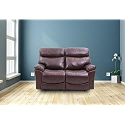 Brown Leather Recliner Sofa Set - Chair, Love Seat, 2 Seater Couch(2 Seater)