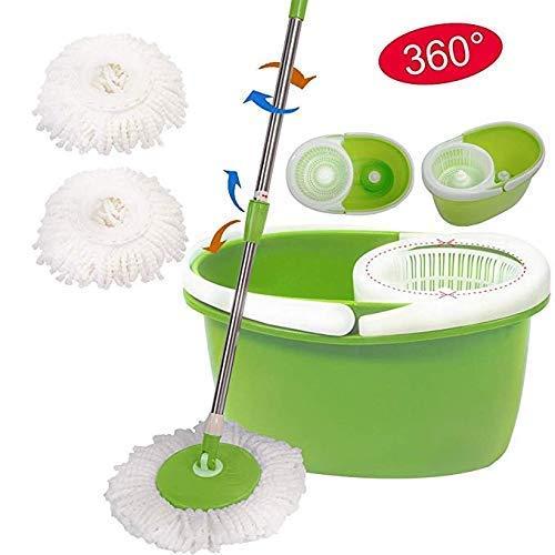COSTWAY Spin Microfiber Spining W/Bucket 2 Heads 360° Rotating Easy Floor Mop (Green)