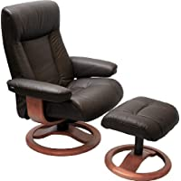 ScanSit 110 Havana Leather Recliner Norwegian Ergonomic Scandinavian Lounge Reclining Chair 110 ScanSit Large Recliner Furniture Teak Wood by Hjellegjerde