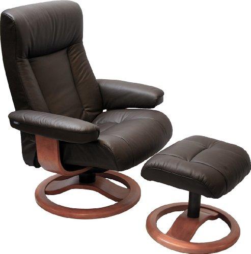 (ScanSit 110 Havana Leather Recliner Norwegian Ergonomic Scandinavian Lounge Reclining Chair 110 ScanSit Large Recliner Furniture Teak Wood by Hjellegjerde)