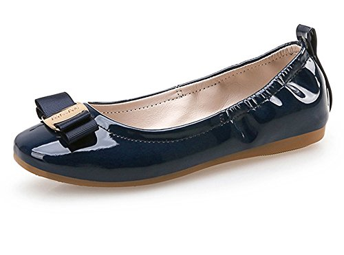YING LAN Girl's Flexible Slip-On Dress Ballet Flats Comfortable Princess Shoes (Big Girls/Little Girls) Navy 35]()