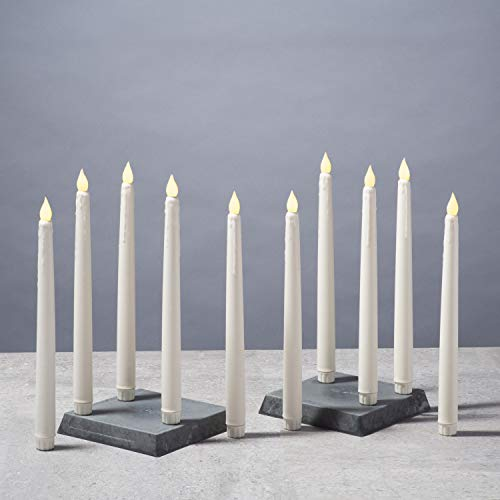 """Flameless 10"""" Taper Candles, Ivory Drip - Set of 10, Warm White Flickering LED Lights, Real Wax, Vigil Collection, Remote, Timer and Batteries Included"""
