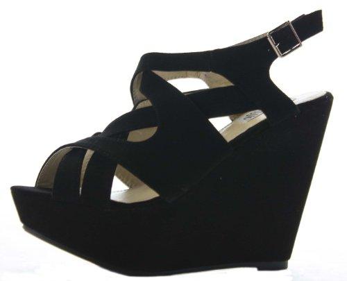 shoeFashionista Womens Ladies Wedges Strappy Mid High Heel Peep Toe Summer Platform Sandals Shoes Black Suede aXmMBz05l9