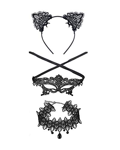 Zealmer Shoopic Sexy Cat Ear Headband Lace Masquerade Mask Black Choker Cosplay Costume Jewelry -