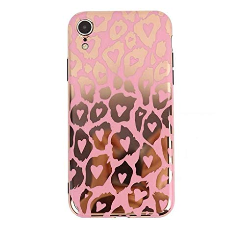 Cute iPhone Case for Girls Women,LMing Glitter Sparkle Bling Cute Shell Phone Case with Leopard Print [Flexible Soft, Slim Fit, Full Protective Cover] for iPhone (Pink) (for iPhone XR)