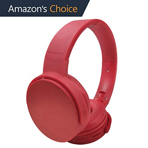 Wireless Headphones, Yusonic Bluetooth Headphones On Ear, Hi-Fi Stereo Wireless Headset, Micro SD/TF, FM Radio,Foldable Wireless and Wired w/Built-in Mic for Travel/Work/TV/Computer/Cellphone (red)