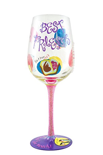 Top Shelf Best Friend Wine Glass – Unique Gift for Her – Hand Painted