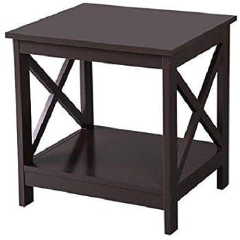 Amazon Com Kampoojoo 2 Tier Espresso End Table X Design