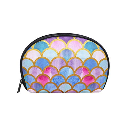 Makeup Cosmetic Bag Watercolor Mermaid Fish Scales Colorful Pouch Clutch]()