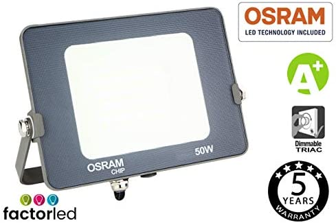 FactorLED Proyector LED 50W Osram, Foco Led Avance SMD Chip OSRAM Exterior, FloodLight outdoor 5000Lm, Ahorro de un 80% en consumo Energético, ...