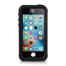 iPhone SE Waterproof Case, Meritcase IP68 Standard Protection Dirt-poof Shockproof Snow-proof and Waterproof Case for iPhone SE/5/5s (Black)